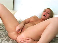 Brown eyed girl rides toys to orgasm