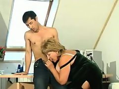 Mature boss being fucked in the office