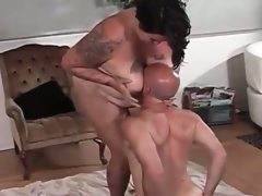 Big fat femdom dominates small loser guy