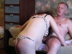 Horny old man pounding his lustful..