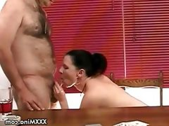 Brunette babe mina sucking cock after..