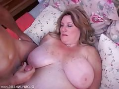 Freckled mature fatty gets pounded..