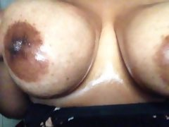 Sexy oily natural big tits