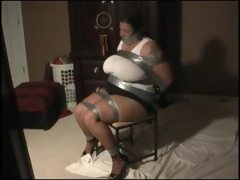 Big girl taped to a chair