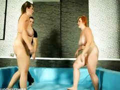 Naked bbw wrestling match goes out of..