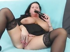 Horny housewife pleasing with her..