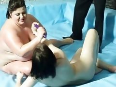Furious naked bbw wrestling with lesbo..