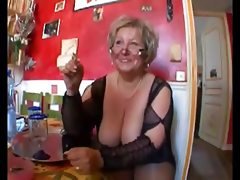 Hot shaved chubby granny in stockings..
