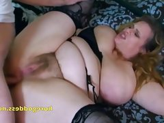 Busty wife with hairy pussy takes it..