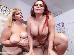 Busty plump milf gets doubled teamed..