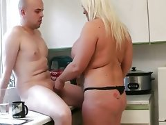 Chubby blonde with big tits fucks in..