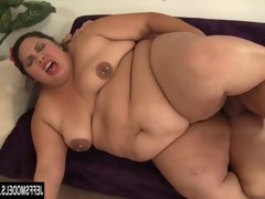 Fat and horny bbw rides a long stiff..
