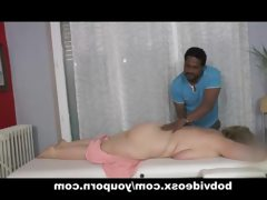 A blonde bbw and a masseur fake